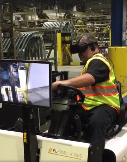 Virtual reality forklift simulator demo at Kamtek