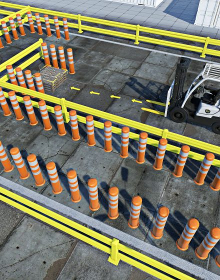 Forklift training exercise with cones